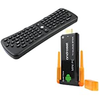 Android TV Dongle with Air Mouse Keyboard Remote, ANDROSET Quad Core Android Mini PC TV Cloud Stick with Dual WIFi Antenna support Youtube/Netflix/Skype/XBMC