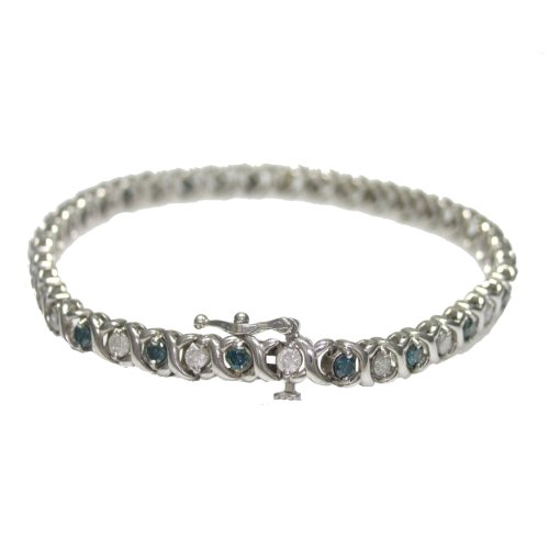 2.50 CT Blue & White Diamond Bracelet In 10K White Gold