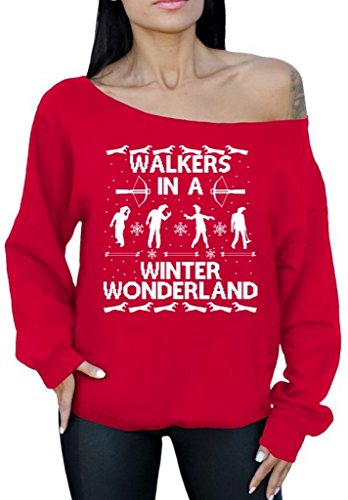 Walkers in A Winter Wonderland Off The Shoulder Sweater Ugly Christmas Sweater S Red -