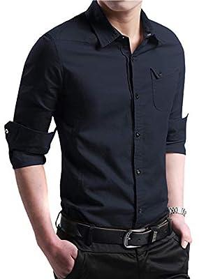 FRTCV Men's Slim Fit Cotton Business Casual Shirt Button Down Dress Shirts