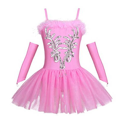 Dancewear Recital Costumes - TiaoBug Girls Sequined Beads Swan Ballet Dance Leotard Spaghtetti Tutu Dress Costume
