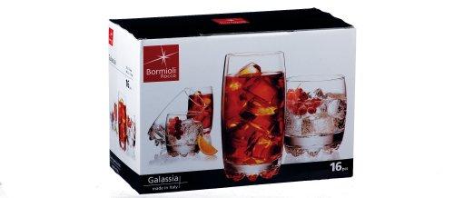 Bormioli Rocco Galassia 16 Piece Set of 10-Ounce and 14-Ounce Glasses