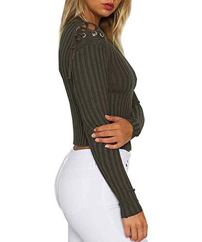 Bretelles Automne Black Qinch T Longues Ajustée Femmes Rond Style Armygreen color Manches Hiver En Size Des Spécial Pour Col Et De shirt Coupe Avec Tricoté Longues Xl Croisées À 46q81r4