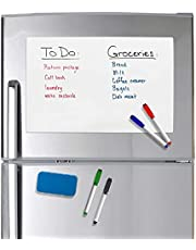 """Refridge Reminder Magnetic Dry Erase Whiteboard 17"""" X 11"""" Sheet for Refrigerator with Stain Resistant Technology. Set of 4 Magnetic Markers and a Big Magnetic Eraser. Ships Flat, Never Rolled!! [Office Product] [Office Product]"""