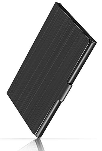 MaxGear Professional Metal Business Card Holder Pocket Business Card Case Slim Business Card Wallet Business Card Carrier for Men & Women, 3.7 x 2.3 x 0.3 inches, Stainless Steel, Black