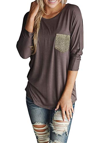 Welkomdream Womens 3/4 Sleeve Tshirt Summer Casual Tops Shirt with Sequin Pocket (X-Large, Brown)