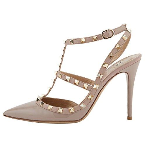 EKS - Zapatos de Tacón Mujer Apricot-Lackleder