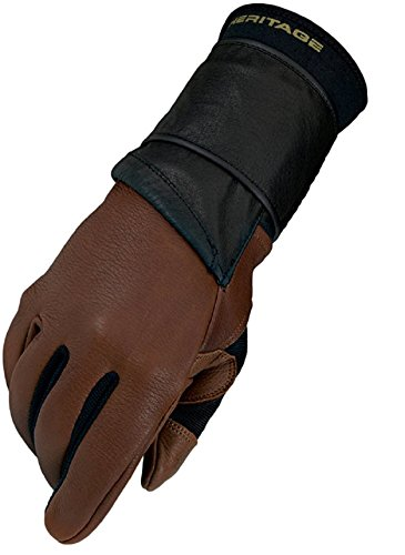 Heritage Pro 8.0 Bull Riding Gloves, Size 9, Saddle Brown Saddle Bronc Riding Equipment