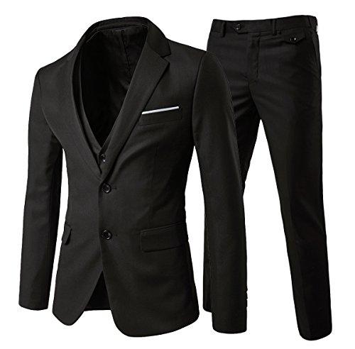 Mens Modern Fit 3-Piece Suit Blazer Jacket Tux Vest and Trousers,Black,Medium