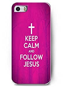 Iphone 5 Case OUO Inspirational and motivational life quotes keep calm and follow jesus - Thin Hard Plastic Case Cover Protection for iphone 5s
