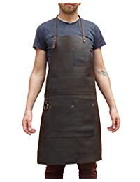 One Leaf Leather Work Apron (Chef, Butcher, Metalworker, Carpenter) Brass Hardware