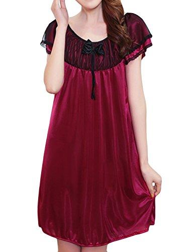 Dramaticbuying Women's Silky Nightgown Solid Trimmed Cap Sleeve Satin Sleep Dress, Purplish Red2, Tagsize2XL=UssizeL ()