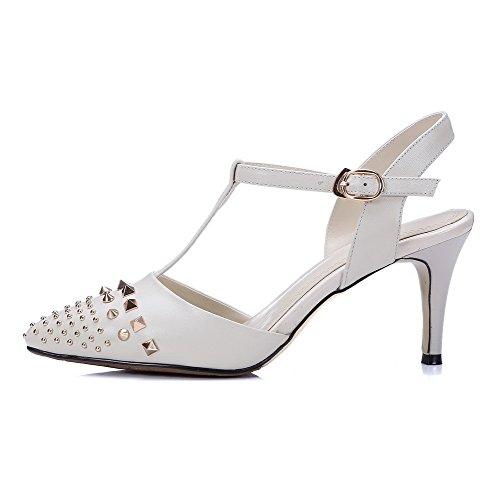 Amoonyfashion Mujeres Soft Material Hebilla Puntiaguda Kitten-heels Solid Sandalias Beige