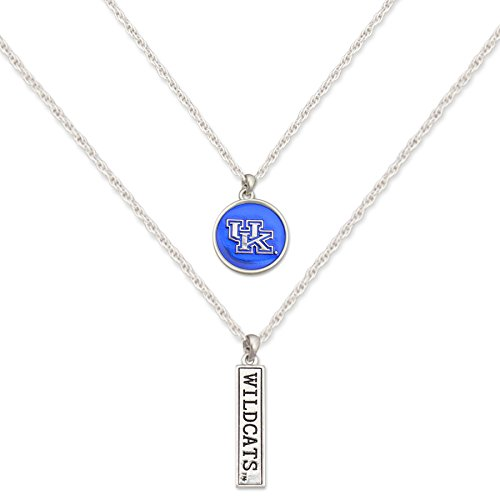 FTH Kentucky Wildcats Silver Tone Double Charm Necklace with Logo and Nameplate Charms