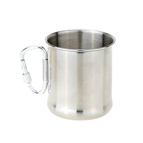 Docooler 250ml Stainless Steel Mug with Foldable Self-lock Carabiner Handle Folding Handle Cup