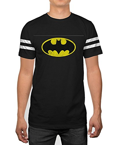 DC Comics Batman Classic Logo Striped Sleeves Black T-shirt (Medium) (Batman Black Knight Rises)