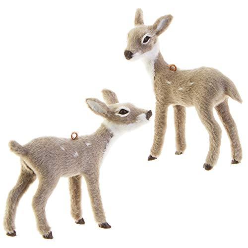RAZ Imports Mini Grey Deer Figurine Ornaments - Set of 2 Assorted (Ornaments Christmas White Deer)