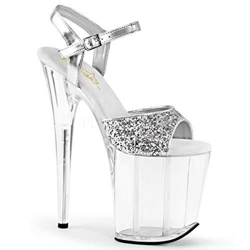 Metallic Glitter Dress Sandals - Pleaser FLAM810/SG/C Women's Platform Dress Sandal, Silver Glitter/Metallic/Clear, 7 M US