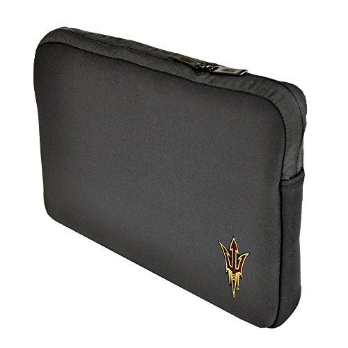 (Altego NCAA Arizona State Sun Devils Neoprene Sleeve 15 Inch to 15.6 Inch with Faux Fur Lining, Embroidered Logo, Black)