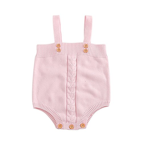 Knit Girls Overalls (Soly Tech Infant Baby Girls Button Knit Overalls Rompers Jumpsuits 6-24 Months)