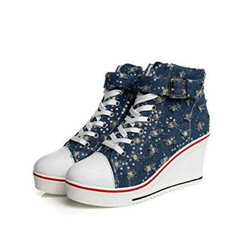 Breathable Wedge Sneakers Woman Platform Denim Canvas Canvas Canvas Shoes Hidden Causal Shoes B07G47TW3C Shoes 37d459