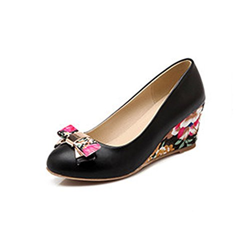 Toe Chunky Womens Bows with Heel Shoes Pumps Mid Easemax Sweat Round Black vxtdqaIa