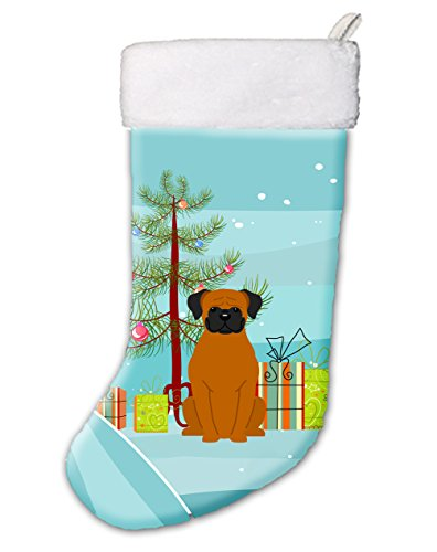 Caroline's Treasures BB4240CS Merry Christmas Tree Fawn Boxer Christmas Stocking , Large, multicolor