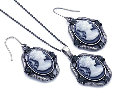 Soulbreezecollection Gray Cameo Necklace Pendant Dangle Drop Earrings Fashion Jewelry Set