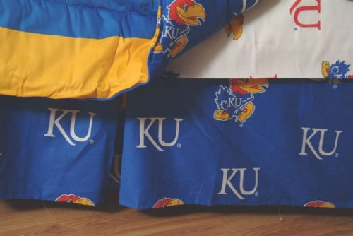College Covers Kansas Jayhawks Printed Dust Ruffle, Queen