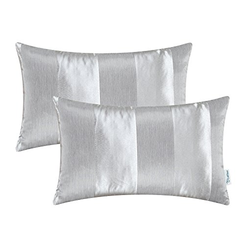 CaliTime Pack of 2 Cushion Covers Bolster Pillow Cases Shells Couch Sofa Home Decoration Modern Shining & Dull Contrast Striped 12 X 20 Inches Silver Gray