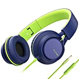 AILIHEN C8 (Upgraded) Headphones with Microphone and Volume Control Folding Lightweight Headset for Cellphones Tablets Smartphones Laptop Computer PC Mp3/4 (Blue Green)