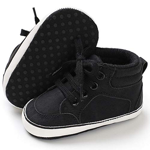 TIMATEGO Baby Boys Girls Shoes High Top Ankle Boots PU Leather Lace Up Non Slip Infant Toddler Sneaker First Walker Crib Shoes 3-18 Months