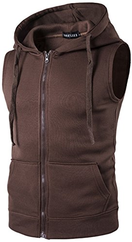 WHATLEES Mens Solid Sleeveless Zip up Fitness Hoodie Shirt Vest with Pockets B424-Brown-XXL by WHATLEES