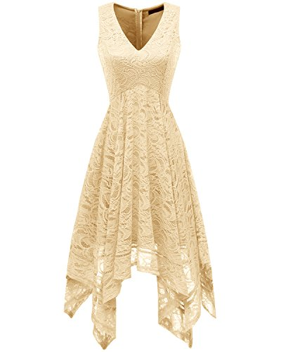 (Bridesmay Women's V-Neck Sleeveless Asymmetrical Handkerchief Hem Lace Cocktail Dress Champagne)