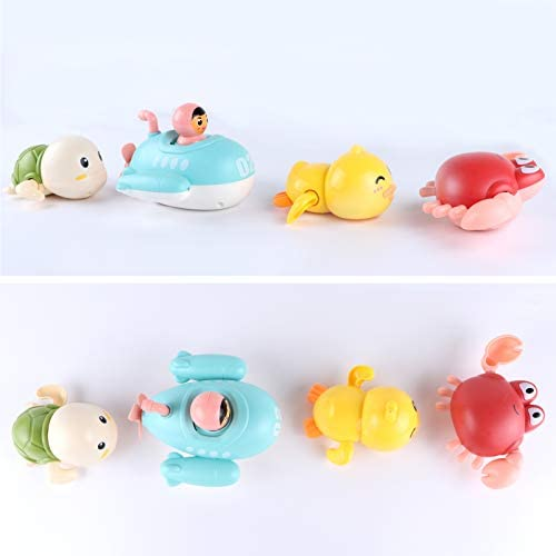 41UZyN4odgL. AC - Baby Bath Toys Bathtub Swimming Floating Toys Duck, Crab, Turtle, Submarine 4PCS Set Pool Beach Water Play Toys For 1 To 4 Years Old Children Kids Toddlers