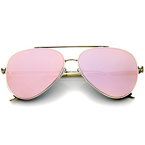 zeroUV - Mirrored Oversized Aviator Sunglasses for Women with Flat Mirror Lens 58mm (Gold/Pink Mirror) ()