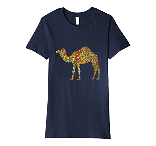 Womens Retro T-Shirt Colorful Flowered Camel Animal Birthday Gift Medium Navy Navy Blue Flowered