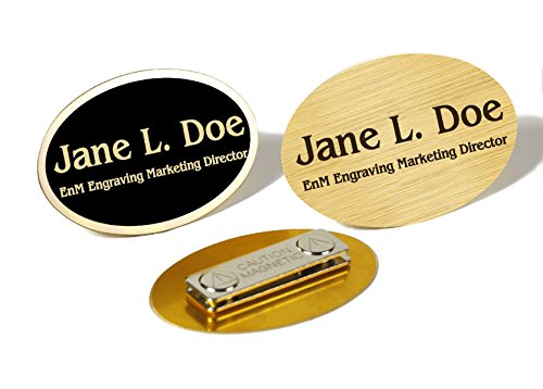Custom Engraved Oval Gloss Black or Satin Brass Name Tag Name Badge Strong Magnetic Closure Employee Identification Plate Sign Personalized Real Metal 1 5/8