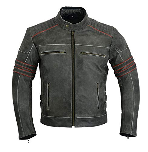 Mens MOTORCYCLE LEATHER JACKET VINTAGE BIKERS STYLE DARK GRAY/RED DC-4088 (XL) (Gray Leather Jacket)
