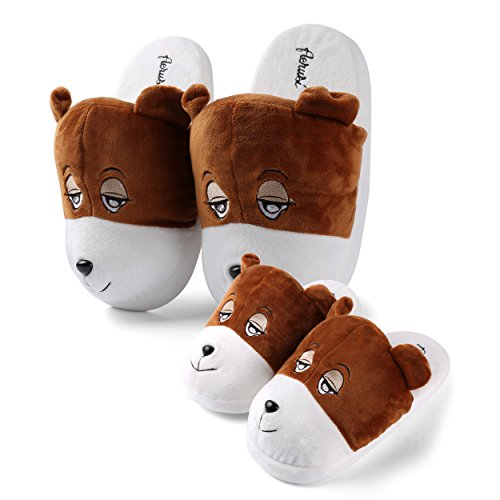 Price comparison product image Mom Dad Kid Home Cute Animal Slipper Comfy House Indoor Slip-On Plush Slippers Family Wear