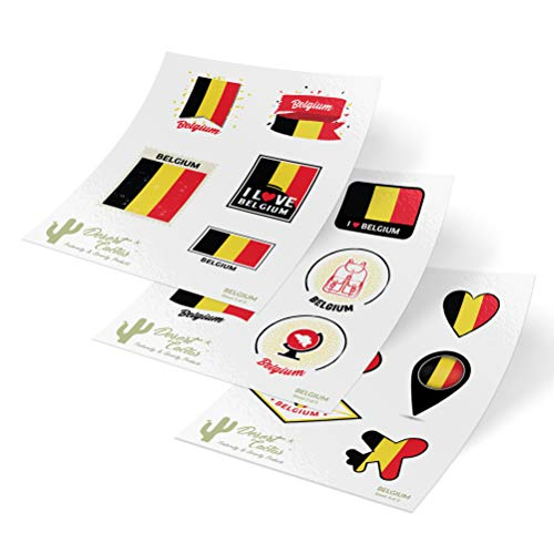 - Belgium Country Flag Stickers Decals 3 Sheets 17 Total Pieces Kids Logo Scrapbook Car Vinyl Window Bumper Laptop 3 Sheets