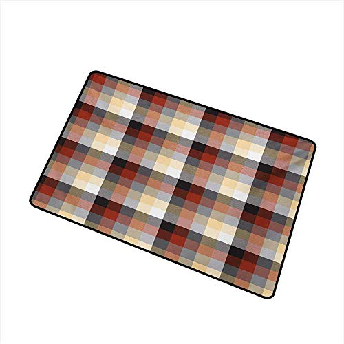 BeckyWCarr Plaid Universal Door mat Checkered Squares Pattern with Colorful Quilt Design Abstract Geometric Arrangement Door mat Floor Decoration W29.5 x L39.4 Inch,Multicolor