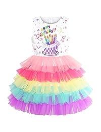 Sunny Fashion Girls Dress Birthday Princess Ruffle Dress Cake Balloon Print Pink