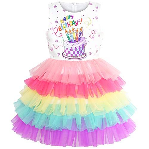 Girls Dress Birthday Princess Rainbow Cake Balloon Size 3