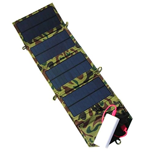 lar Charger For iPhone/Mobile Phone+7W Solar Panel+Foldable USB Battery Charger Wallet Durable (Camouflage) ()