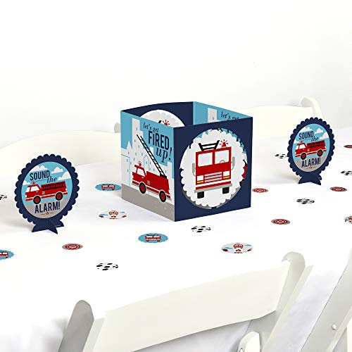 Big Dot of Happiness Fired Up Fire Truck - Firefighter Firetruck Baby Shower or Birthday Party Centerpiece and Table Decoration ()
