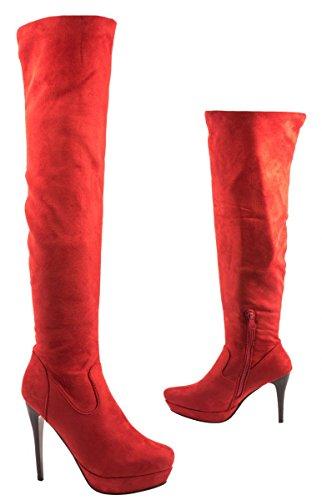 Elara - botas clásicas Mujer Rojo