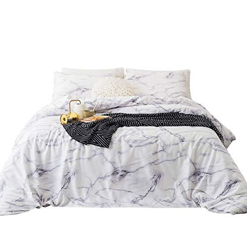 SUSYBAO 3 Piece Duvet Cover Set 100% Cotton Queen Size White Marble Bedding Set 1 Geometric Duvet Cover with Zipper Ties 2 Pillowcases Luxury Quailty Soft Comfortable Machine ()