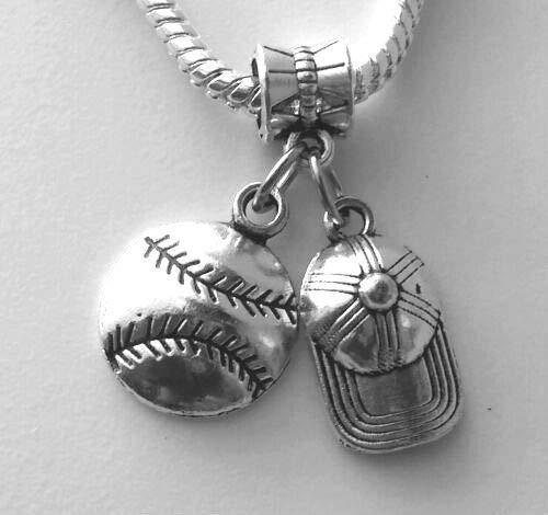 Baseball Cap Hat Softball Sports Ball European Dangle Bead Charm - for Bracelet or Pendant]()