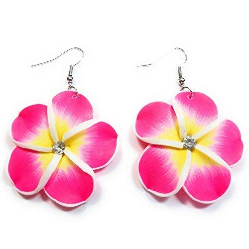 - Teri's Boutique Hawaiian Orchid Fimo Plumeria Flower Pierced Fashion Dangle Earrings (Pink)